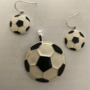 Other - Soccer Ball Pendant Pin Matching Earrings Set New